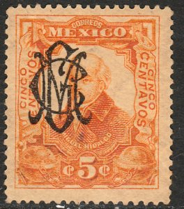 MEXICO 459 5c VILLA MONOGRAM REVOL OVPERPRINT UNUSED, HINGED, OG. VF.