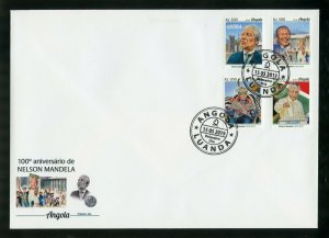 ANGOLA 2019 100th BIRTH OF NELSON MANDELA  SET FIRST DAY COVER