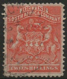 RHODESIA-1892-93 2/- Vermilion Sg 5 GOOD USED V37847