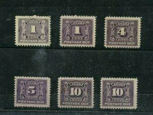 J1 x 2 VF MNH, J3 to J5x2 also F-VF MH Cat $360 postage dues Canada mint