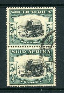 South Africa 1933 KGV 5/- green vertical pair SG 64 used CV £75