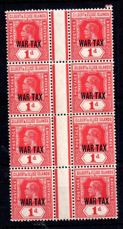 Gilbert & Ellice KGV 1d War Tax MNH gutter pair block SG26 WS10314