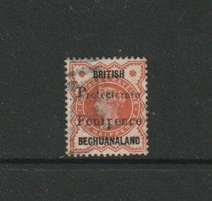 Bechuanaland 1889 QV 4d on 1/2d Jubilee, part of Opt Missing Used, SG 53Var