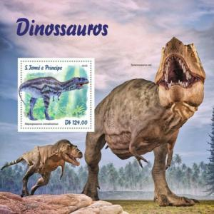 St Thomas - 2019 Dinosaurs on Stamps - Stamp Souvenir Sheet ST190109b