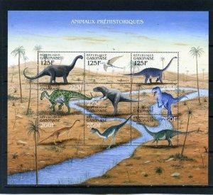 GABON 2000 PREHISTORIC ANIMALS/DINOSAURS SHEET OF 9 STAMPS MNH