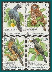 Christmas Island 2002 Birds, CTO  #437-439,SG507-SG510