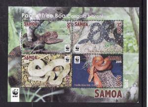 Samoa-Sc#1206a-Unused NH sheet-WWF-Snakes-Tree Boa-2015-