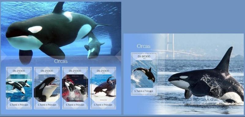 ST. TOME PRINCIPE 2014 2 SHEETS st14409ab ORCAS MARINE LIFE