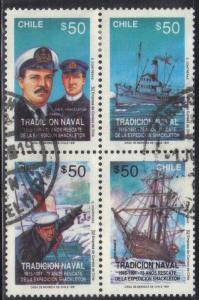 CHILE SC# 960 A-D  USED 1991 50p  BLK of 4 EXPEDITION RESCUE SEE SCAN