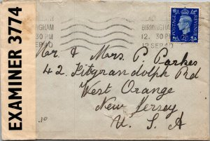 Birminham UK > West Orange NJ 1940 airmail censored WWII cover
