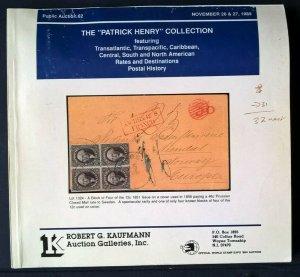 Auction Catalog PATRICK HENRY TRANSPACIFIC TRANSATLANTIC RATES  Sea Mail Covers