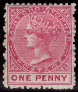 St Christopher 1882 1d Dull Magenta SG12 P.14 Wmk CA Fine Fresh Lightly Mtd Mint