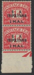 B.O.I.C.-TRIPOLITANIA SGTD7b/7 1950 2d on 1d CARMINE NO STOP AFTER B MNH