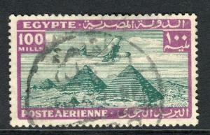 EGYPT;  1933 early AIRMAIL issue fine used 100m. value
