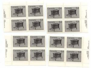 Canada - 1984 64c Wood Stove Plate  2 Blocks mint #932i MS VF-NH