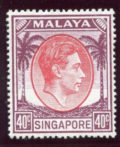 Singapore 1951 KGVI 40c red & purple MLH. SG 26. Sc 16a.