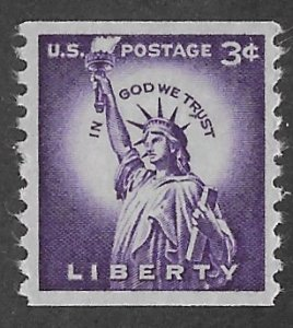 USA # 1057  Statue of Liberty  3c    COIL     (1) Mint NH