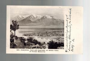 1906 Mts Princeton Yale Harvard Buena Vista Colorado Real Picture Postcard Cover