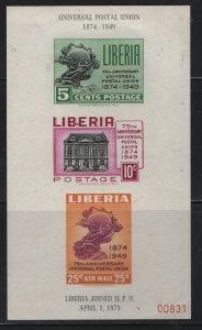 LIBERIA, C67A, SOUVENIR SHEET OF 3, HINGED, 1950 UPU 75TH ANNIV.