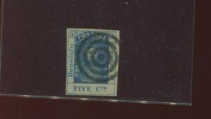 Hawaii Scott 9 King Kamehameha III Used Stamp with Bold 3 Ring Cancel (H9-1)