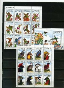ANGOLA 1996 Sc#957-958,960 FAUNA BIRDS 2 SHEETS OF 12 STAMPS & S/S MNH