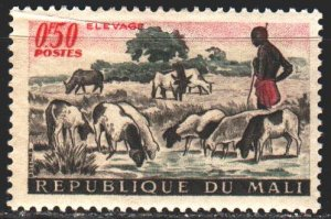 Mali. 1961. 30 from the series. Herd of cows, shepherd. MLH.