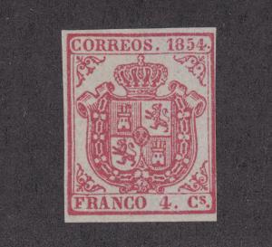 Spain Sc 25 MNG. 1854 4c carmine Coat of Arms, 4 margins, almost VF