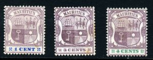 MAURITIUS 1895 to 1899 Arms Group Wmk Crown CA SG 127, SG 129 & SG 130 MINT