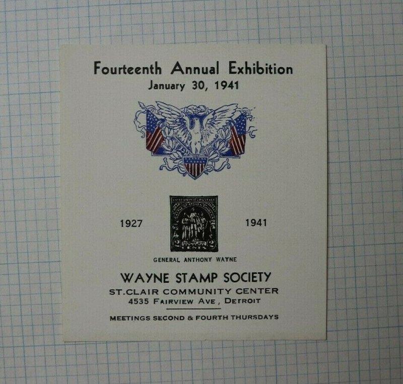 14th Annual Expo 1941 Wayne Stamp Society General Anthony Wayne Souvenir Ad
