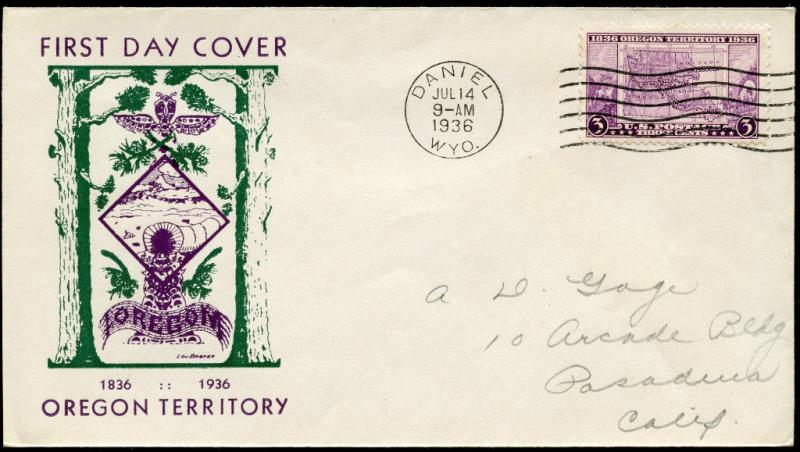 #788-32b OREGON TERRITORY FIRST DAY COVER LOU BREKER CACHET BN487