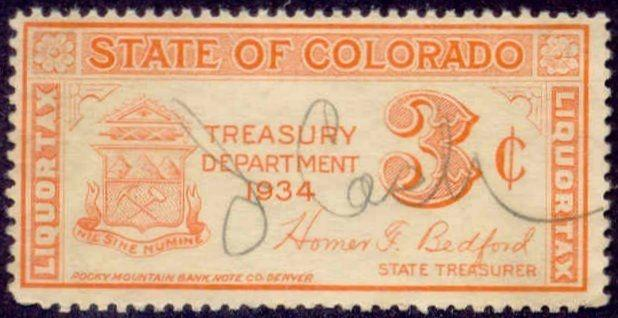 Colorado State Revenue Stamp 3c Liquor Tax # WL4