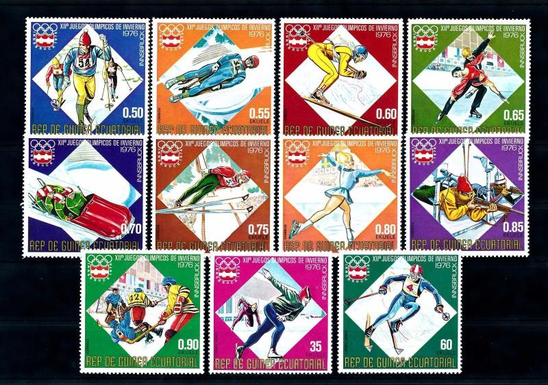 [55971] Equatorial Guinea 1976 Olympic games Luge Figure skating Icehockey MNH