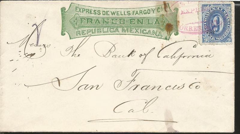 J) 1891 MEXICO, EXPRESS WELLS FARGO, NUMERAL, 6 CENTS BLUE ISSUE, PINK CANCELLAT