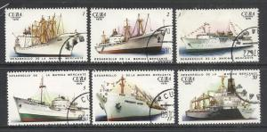Cuba Sc# 2087-2092  MERCHANT MARINE ships Cpl set of 6 1976 mint disturbed gum
