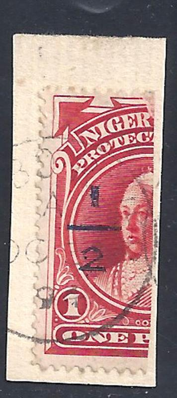 Niger Coast stamps 1894 QV 1d in blue / half 1d vermillion cert (SG64) VFU ₤500