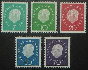 Germany 793-97. 1959 President Heuss, NH