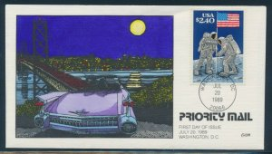 #2419 MOON LANDING HANDPAINTED FDC CACHET BY COLLINS BV3123