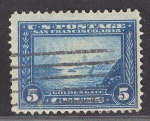 US Stamp #399 5c Blue Golden Gate USED SCV $10.00