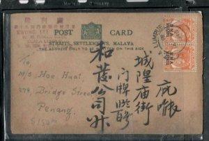 MALAYA BMA COVER (P0307B) 1946 PSC WITH BMA 2CX2 KGVI KL TO PENANG