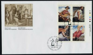Canada 1435a TR Plate Block on FDC - Canadian Folklore, Horse