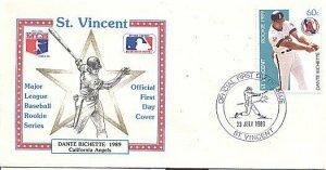 ST. VINCENT 1989 BASEBALL DANTE BICHETTE ANGELS FDC