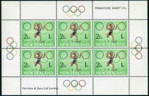New Zealand B75-B76a,hinged.Michel 4875-488 klb. Olympics 1968.Running,Swimming.