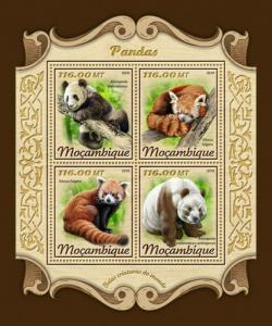 Mozambique - 2018 Panda Bears - 4 Stamp Sheet - MOZ18109a