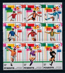 [60494] Penrhyn Cook Islands 1981 World Cup Soccer Football Spain 3 strips MNH