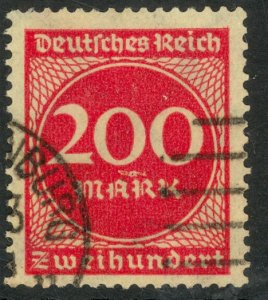 GERMANY 1922-23 200m Carmine Rose Inflation Issue Sc 230 VFU