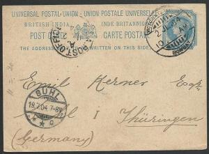 INDIA QV 1a  postcard used 1904 to Germany, Sea Post Office cds............49382
