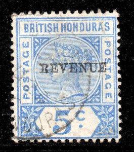 British Honduras 1899 5c BEVENUE ERROR o/p SG 66a used CV £180
