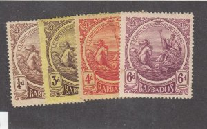 BARBADOS # 127,132-133,135 VF-MH SEAL OF COLONY CAT VALUE $24