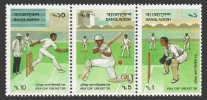 Bangladesh 313 ac strip,MNH.Michel 289-291. Asia Cup Cricket,1988.
