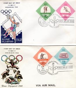 Philippines 1960 Sc#821/822+C85/86 ROME OLYMPICS GAMES Set (4) FDC (2)